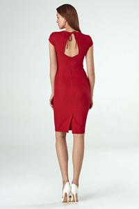 Red Fitted Midi Dress with Half-sleeve