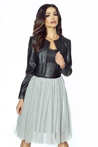 Black Eco- Leather Short Bolero Jacket