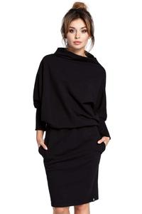Black Casual Dress with Wide Tourtleneck