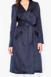 Dark Blue Elegant Trench Coat with Self Tie Belt