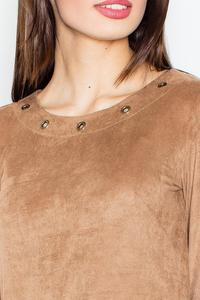Brown Round Rivets Casual Dress
