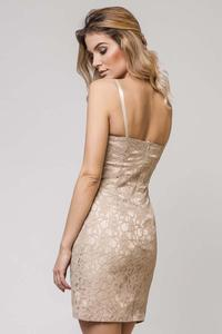 Beige Bodycon Spaghetti Straps Lace Dress