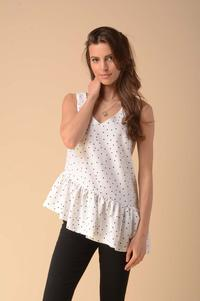Asymmetric Top Blouse with a Frill - Dots