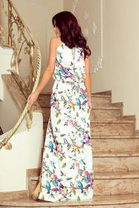 White Pink Maxi Dress Tied at the Neck in Flowers