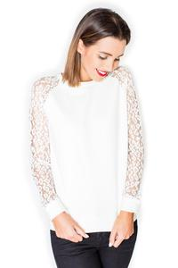 Ecru Long Lace Sleeves Cut Out Back Blouse