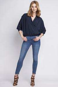Dark Blue Wrap Neckline 3/4 Sleeves Blouse