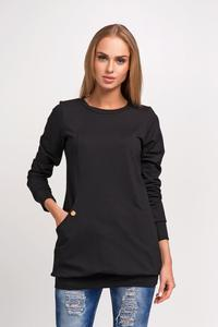 Black Fitted Hem Band and Cuffs Round Neckline Sweatshirt