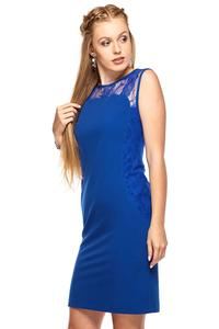 Blue Slim FIt Coctail Dress with Lace Top