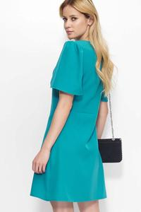 Green Flared Mini Dress with Short Sleeves