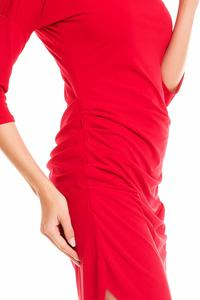 Red Asymetrical Wrinkled Dress