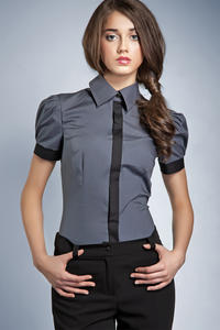 Pleated Puffed Shoulder Collared Grey Shirt with Contrast Trim