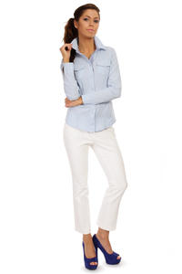 Seam Collared Blue Shirt with Check Details