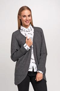 Dark Grey Raglan Sleeves Loose Cardigan