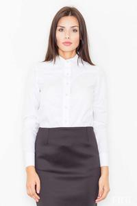 White Long Sleeved Shirt with Piping