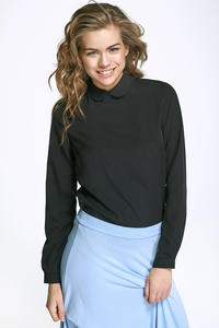 Black Round Collar Long Sleeves Blouse
