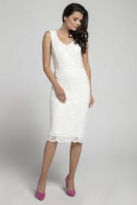 Ecru Lace Sleeveless Dress Midi Pencil Cut