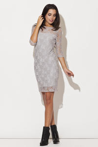 Grey Floral Lace Shift Dress with Elbow Length Sleeves