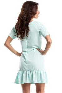 Mint Green Flared Mini Dress with a Frill
