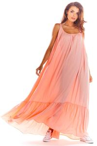 Powdered Maxi Dress with thin straps with a frill
