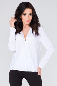 White Wrap Front Long Sleeves Blouse