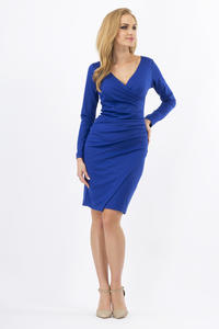 Blue Wrinkled Elegant V-Neckline Dress