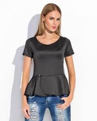 Black Short Sleeves Peplum Chic Blouse