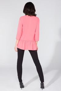 Pink Romantic V-Neck Blouse with a Frill