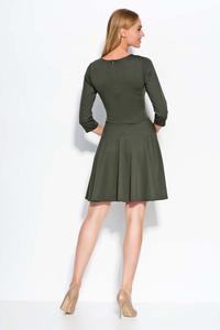 Khaki 3/4 Sleeves Flared Mini Dress