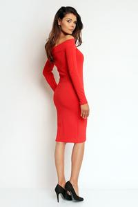 Red Off Shoulder Fitted Knee Lenght Dress