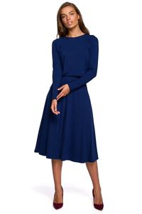Dark Blue Flared Casual Midi Dress