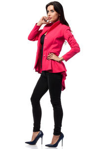 Dark Pink Seam Blazer with Cascading Back Hemline