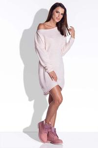 Pink Knitted Dress with Asymetrical Neckline