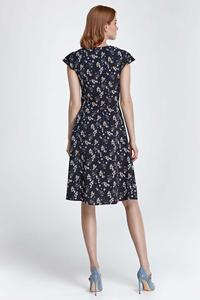 Dark Blue Floral Pattern Flared Midi Dress