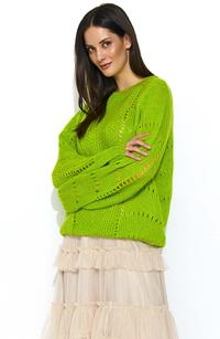 Lime loose sweater with an openwork pattern