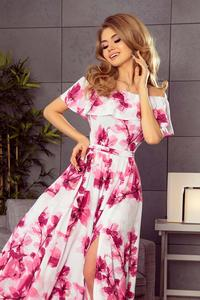 Pink Flowers Maxi Elegant Dress