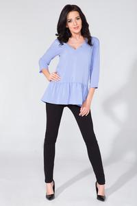 Light Blue Romantic V-Neck Blouse with a Frill