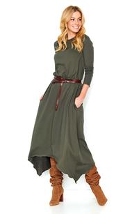 Khaki Asymetrical Midi Dress