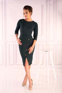 Dark Green Knitted Fitted Dress with Buttons