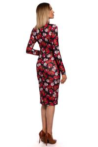 Turtleneck Midi Pencil Dress (Flowers)