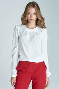 Ecru Soft Office Blouse with Frill at The Shoulders