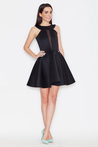 Black Flared Evening Transparent Front Panel Dress