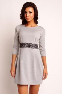 Grey Mini 3/4 Sleeves Lace Waist Dress