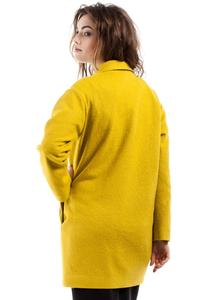 Yellow Loose Fit One Button Closure Short Coat