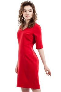 Red Soft Office Style Knee Length Dress