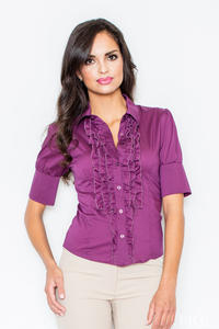Eggplant Color Vintage Collared Blouse with Ruffled Details and Wide Cuffs