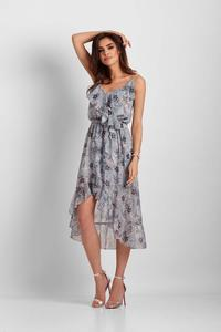 Blue Patterned Asymmetrical Dress With Frills