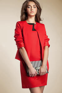 Red Front Open Jacket with 3/4 Sleeves