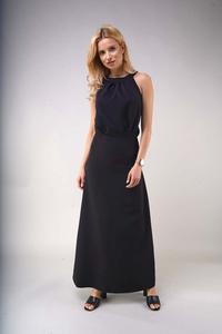 Black Elegant Long Dress with a Cut on the Back