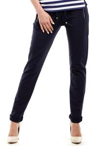 Dark Blue Slim Legs Pants with Zippers