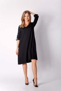 Black Loose V-neck Knitted Dress